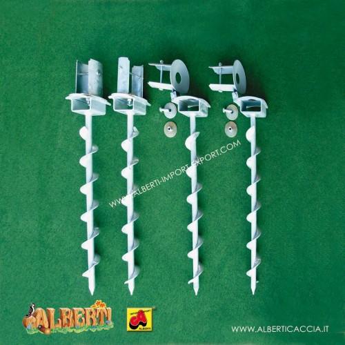 Set zanche a vite in acciaio zincato a caldo (2 oscillanti. + 2  ribaltabili)