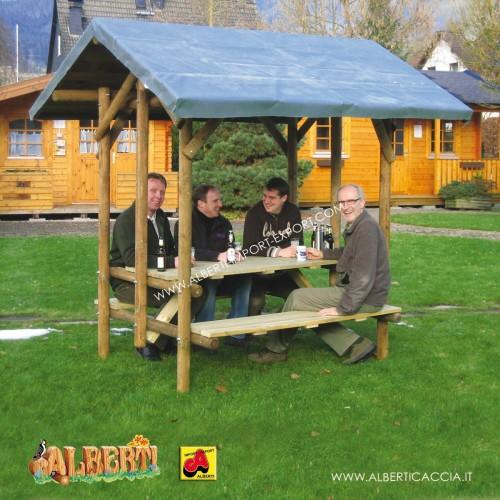 Tavolo picnic per 6 persone con tetto, 240x220x260 cm